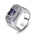 Gift Ring Multi color Purple Amethyst 18Kt White Gold Plated Size 7